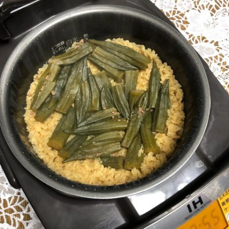 オクラの醤油系の漬物をぶちこんで焚いた炊き込みご飯